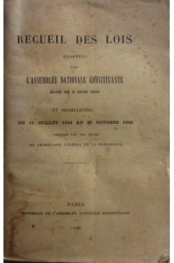Recueil Des Lois Adoptées Par L'assemblée Nationale Constituante Élue Le 2 Juin 1946