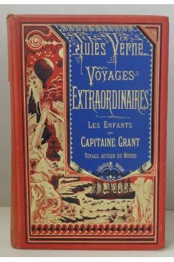 Les enfants du capitaine Grant. Collection Hetzel, reliure Lenègre à la bannière, plaque de Souze