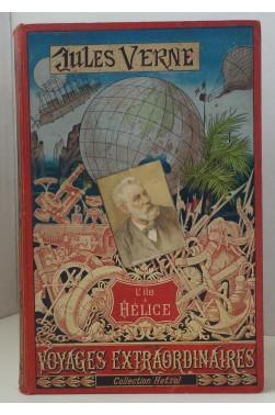L'Ile à Hélice. Collection Hetzel, reliure Lenègre, cartonnage au portrait collé, plaque de Souze