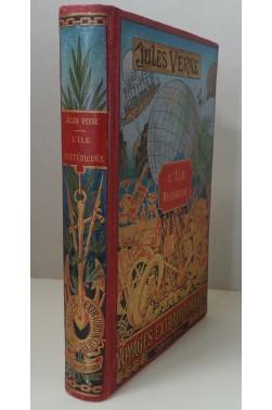 L'Ile mystérieuse. Collection Hetzel, cartonnage à la mappemonde, reliure Engel