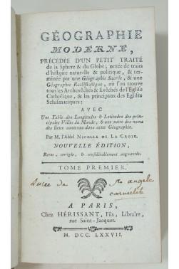 Géographie Moderne, sacrée, Ecclésiastique, Traité de la Sphère... 2 volumes, 1777