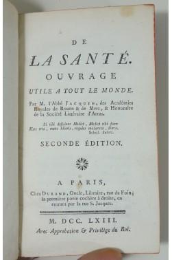 De la Santé, ouvrage utile à tout le monde. 1763