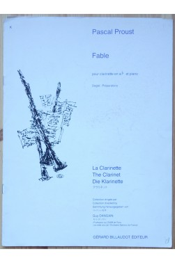 Fable pour clarinette en si b et piano - Collection Dangain -