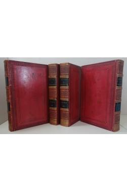 Oeuvres de Boileau. 4/4, 1821. Superbes reliures plein veau glacé grenat
