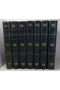 Walter Scott illustré par Flameng, Riou... Lot de 7 romans, Firmin-Didot 1881 - 1885