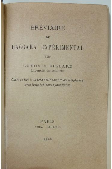 Bréviaire du Baccara expérimental par Ludovic Billard. 3 tableaux - 1883 rare
