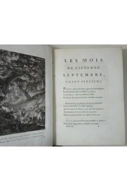 Les mois, poëme, en douze chants, par M. Roucher. Tome II in-4 sur vergé - gravure Moreau