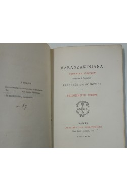Maranzakiniana, précédée d'une notice par Philomneste Junior - Brunet. Jouaust 1875