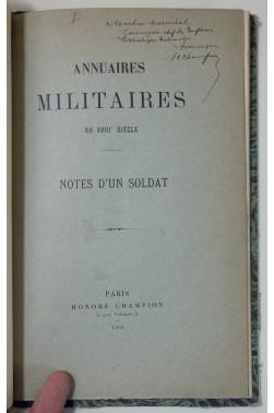 Annuaires militaires au XVIIIe siècle - notes d'un soldat. Envoi de Honoré Champion - truffé - rare 1901