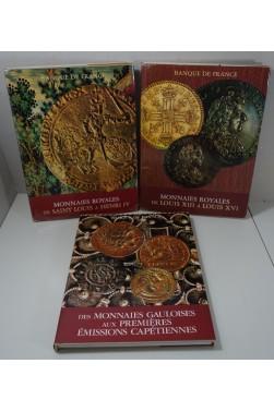 Monnaies gauloises + Monnaies royales de Saint Louis à Louis XVI - Banque de France 3 vol.