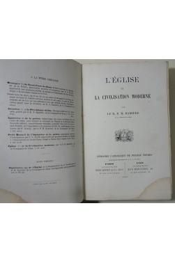 L'Église et la civilisation moderne par le R. P. H. Ramière - Librairie catholique PERISSE, 1861