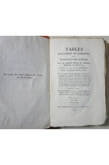 BUFFON - Histoire naturelle : Tables analytiques et raisonnées des matières et des auteurs 3/3 Dufart 1808