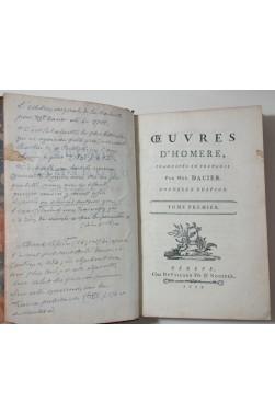 L'Iliade d'Homère ou le récit de la guerre de Troye, Livres I à XX. Traduction par Mme DACIER - 1779
