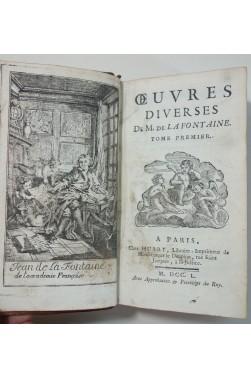Poésies mêlées de LA FONTAINE, 1750. Oeuvres diverses tome 1 - HUART, frontispice