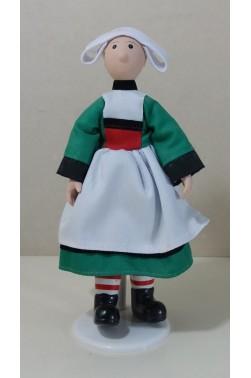 Figurine BECASSINE 21 cm. Poupée tissu et porcelaine avec support.