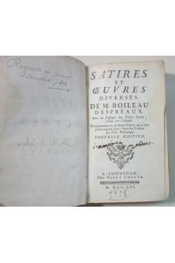 BOILEAU DESPREAUX. Satires, 1756 + oeuvres diverses, t.2 1741. RARE, CHELTE - Schelte