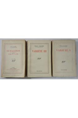 Lot x3 Paul VALERY : Variété III, 1936 - Variété V, 1944 - Eupalinos, 1929. Gallimard NRF