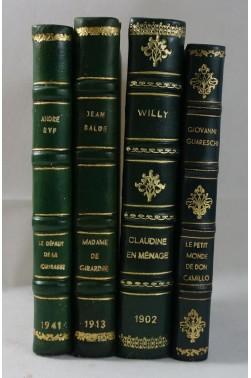 Lot de 4 belles RELIURES d'ART - RYF, le défaut de la cuirasse. CLAUDINE, 1902. Don Camillo ...