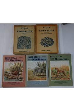 Petit Atlas des mammifères I à III + Atlas des FOSSILES 2 - 3. Planches couleurs - Ed. Boubée
