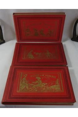 TOPFFER. 3 cartonnages illustrés - Histoire de Mr VIEUX-BOIS + CREPIN + JABOT - RARE