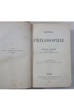 Charles JOURDAIN. Notions de PHILOSOPHIE - Librairie Hachette, 1873, relié