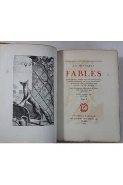 LA FONTAINE. Fables - 2 tomes, 1 des 50ex sur papier d'Auvergne - Bossard, 1927 - 4 Gravures RARE