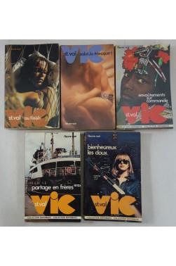 Lot de 5 romans de VIC ST. VAL - Fleuve Noir, Collection ESPIOMATIC - n° 46, 56, 68, 90, 91