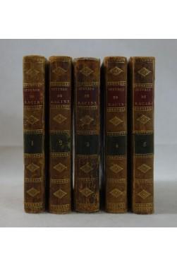Oeuvres de Jean RACINE - 5 tomes, COMPLET. Edition Stéréotype d'Herhan, RELIURES, 1801