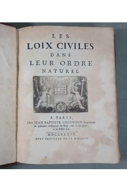 EO [ DOMAT ] Les LOIX CIVILES dans leur ordre naturel - 1689, COIGNARD. RARISSIME édition originale