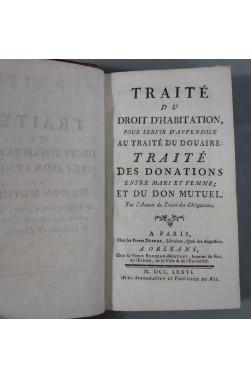 M. POTHIER - Traité du Droit d'Habitation - 1776 - DROIT - Appendice - Douaire