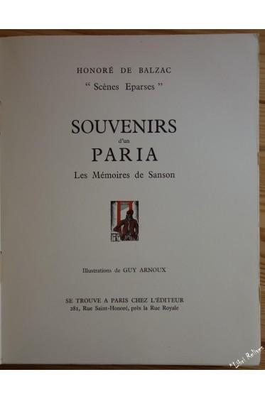 Scènes éparses - Souvenirs d'un paria. Les Mémoires de Sanson. Illustrations de Guy Arnoux.