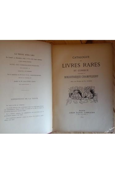 Catalogue des livres rares et curieux composant la bibliothèque de Champfleury. Avec une préface de Paul Eudel.