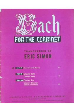 Bach For The Clarinet - Part I - Clarinet and Piano [Partition]