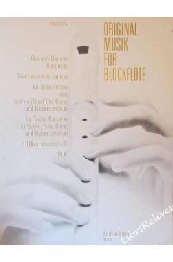 BONONCINI G.B. - DIVERTIMENTI DA CAMERA I - pour Flûte, violon ou flute trave...